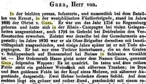 Gazas kriegerische Vergangenheit darf nicht unters Sofa gekehrt werden (Bild aus: Neues preussisches Adels-Lexicon von Leopold Freiherr von Zedlitz-Neukirch, zweiter Band 1836 bei den Gebrüdern Reichenbach erschienen, S. 251)