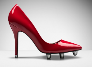 """Humorvoller Fußballschuh für Frauen. Quelle: """"obs/Sky Deutschland"""""""
