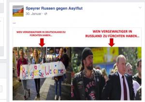 screenshot von der Facebookseite  der russischen Speyrer gegen Asylflut