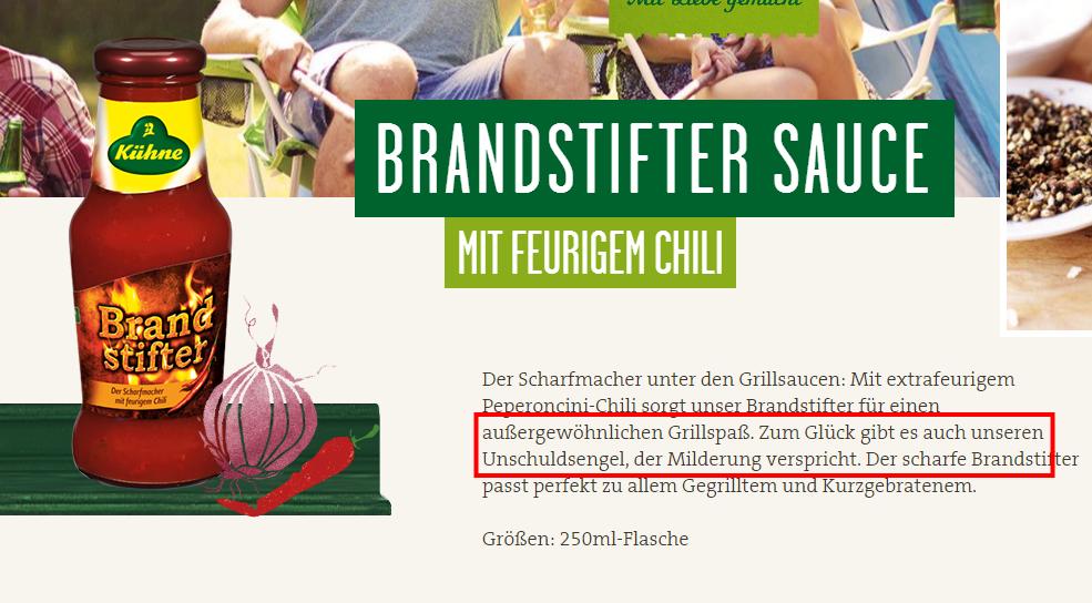 Brandstifter Sauce 250ml Kühne –Mit Liebe gemacht